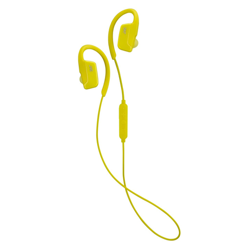 JVC AE Wireless Headphones Sports Bluetooth In-Ear Earphones with Secure Fit Over Ear Clip - Yellow